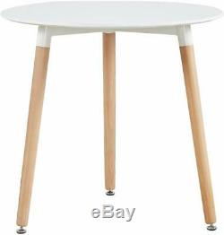 80cm Round Dining Table White And 4 Padded Tulip Chairs Grey Set Kitchen Cafe
