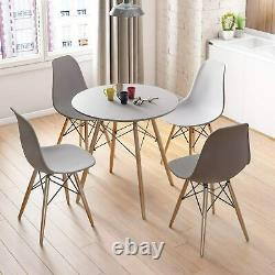 80cm Round Dining Table and 4 Chairs Grey Solid Wood Set Home Kitchen Furniture