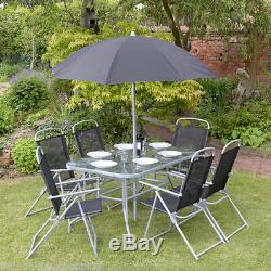 8pc Garden Patio Furniture Set 6 Seater Dining Set Parasol Table And Chairs New