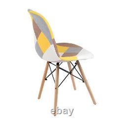 90cm Glass Dining Table and 4 Chairs Set Armless Patchwork Fabric Padded Seat