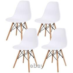 90cm Glass Dining Table and 4 Chairs Set Wood Legs Home Kitchen Lounge Seat UK