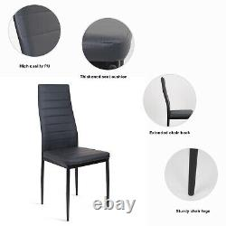 90cm High Gloss Glass Dining Table and 4 Chairs Set High Back Faux Leather Black