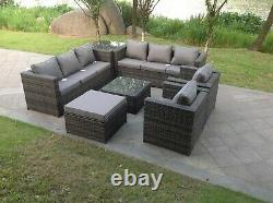 9 Seater Rattan Sofa Set Chair Coffee Table Footstool Outdoor Garden Furniture