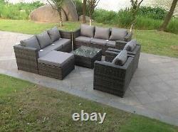 9 seater rattan sofa set table chairs outdoor garden furniture patio grey
