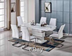 APOLLO White High Gloss Glass Chrome Dining Table Set and 6 Leather Chairs Seats