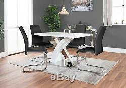 ATLANTA 4 White High Gloss Dining Table Set and 4 Leather Chairs Seats Seater
