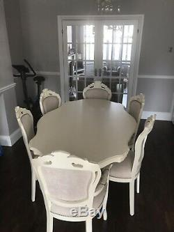A Stunning French Style Shabby Chic Table And 6 Matching Chairs