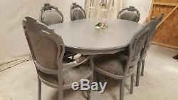 Absolutely Stunning Shabby Chic Grey Italian table and 6 Chairs