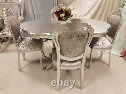 Absolutely Stunning Silver Sparkle Shabby Chic Italian Table and 4 Chairs