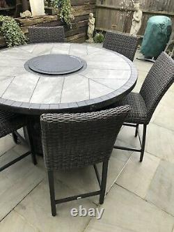 Agio Rattan Garden Table And Chairs / Patio Gas Fire Table & Chairs by Agio