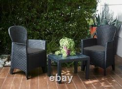 Akita 3 Piece Bistro Set Table And Chairs Rattan Effect Garden Set With Cushions
