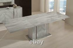 Alex High Gloss Grey Italian Extending Dining Table with 8 Chairs FREE DELIVERY