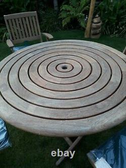Alexander Rose Roble Wooden Garden Table 4 Chairs And Seat Cushions