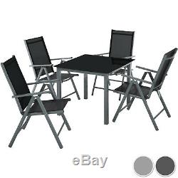 Aluminium garden furniture set 4+1 table and chairs dining suite foldig glass