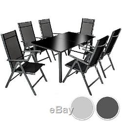 Aluminium garden furniture set 6+1 table and chairs dining suite foldig glass