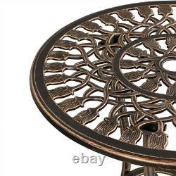 Aluminum Bistro Set Garden Table and Chairs 3 Piece Garden Furniture Set Bronze