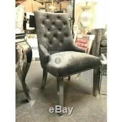 Ariana 1.8m Light Grey Marble Dining Table and 6 Grey velvet Lion Knocker chairs