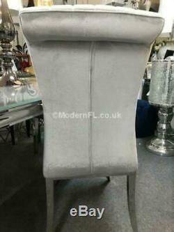 Arianna 1.8m Light Grey Marble Dining Table and 6 Louis Grey Dining Chairs