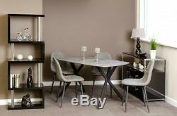Athens Dining Set in Concrete Effect and Black, Table or Chair Option