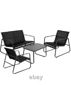 B Grade Seconds Garden Furniture Set 4 Seater Sofa Chairs Table Outdoor Black