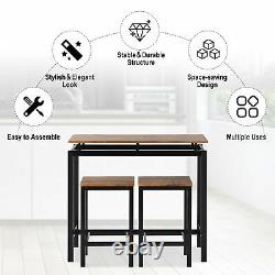 Bar Table and Stool Set For Kitchen Dining Room 2 Bar Stools Chair Industrial