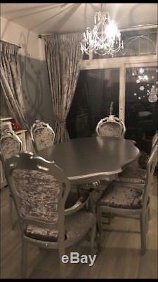 Beautiful 6 Seater Table And Chairs Set Silver and crushed velvet