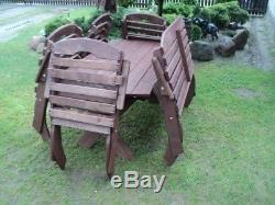 Beautiful Garden Furniture, Solid Wood, Table And 6 Chairs