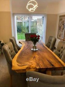 Bespoke rustic live edge oak walnut ash and sycamore dining tables chairs