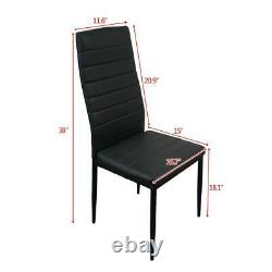 Black Dining Rectangle Table and 4 PU Chairs Set Kitchen Dinning Room Furniture