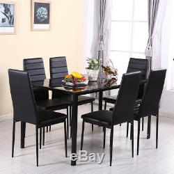 Black Dining Rectangle Table and 6 PU Chairs Set Kitchen Dinning Room Furniture
