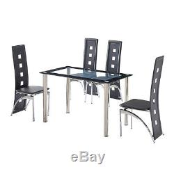 Black Glass Dining Table Set and 4 Faux Leather Chairs Metal Legs Dinning Room