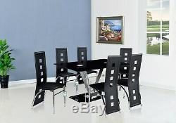 Black Glass Dining Table Set and 6 Leather Chairs Seats