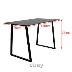 Black Glass Dining Table and 4 Chairs Set Dining Room Faux Leather Chairs Modern