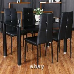 Black Glass Dining Table and 4 Padded Chairs Set Optional Home Kitchen Furniture