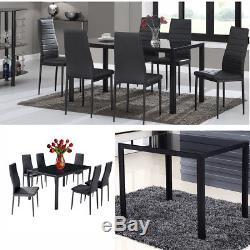 Black Glass Dinning Table and Chair Sets 4 or 6 PU Leather Chairs Kitchen Dining