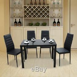 Black High Gloss Glass Dining Table Set and 4 Faux Leather Chairs Kitchen Seats