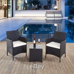 Black Rattan 2 Chairs and Table Garden Furniture Set Patio Conservatory Outdoor