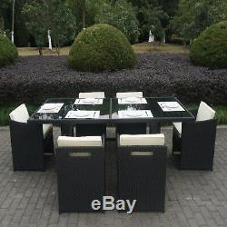 Black Rattan 7 Piece Table and Chairs Garden Dining Set