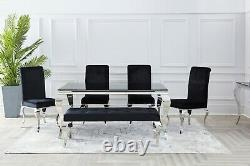 Black Velvet Louis Dining Table Chair Chrome Legs Office Kitchen Chairs
