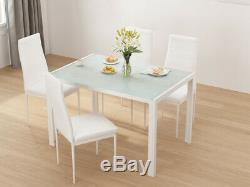 Black/White Dining Table and 4/6 Padded Chairs Dining Set Home Kitchen Furniture