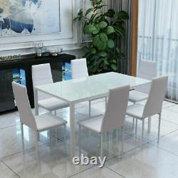 Black/White Dining Table and 4 / 6 Padded Chairs Set Home Kitchen Furniture New