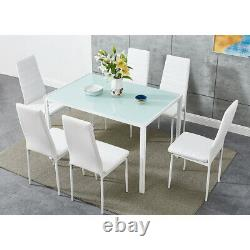 Black/White/Grey Dining Table and 4 / 6 Padded Chairs Set Home Kitchen Furniture