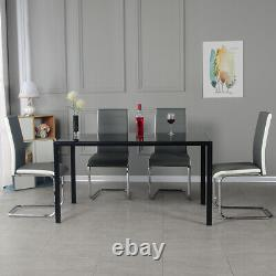 Black/White/Grey Glass Dining Table and 2 / 4 / 6 chairs Optional Home Furniture