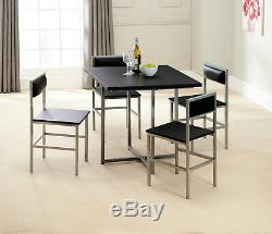 Black and Silver 4 Seater Compact Dining Set Table and Chairs, Square Design