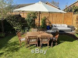 Bramblecrest Garden Dining Table & 6 Chairs with Parasol and Cushions