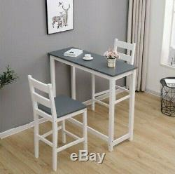 Breakfast Bar Table and Chairs 2 Seater Dining Set Slim Console Pub Grey Bistro