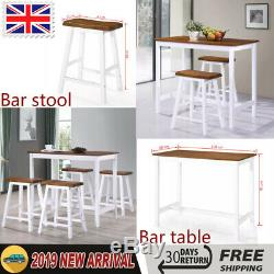 Breakfast Bar Table and Stool Set Solid Wood MDF Kitchen Dining Furniture Chairs
