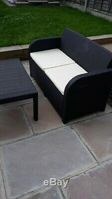 Brown Rattan Garden Outdoor Conservatory Furniture Table And Chairs Set