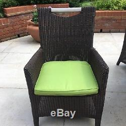 Brown rattan garden table and chairs