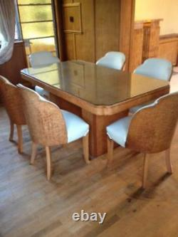 C1930 H & L EPSTEIN 6 Cloud Chairs and Lozenge Table in Burr Maple